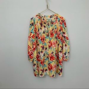 CAFFE MARRAKECH Floral smocked bubble sleeve dress